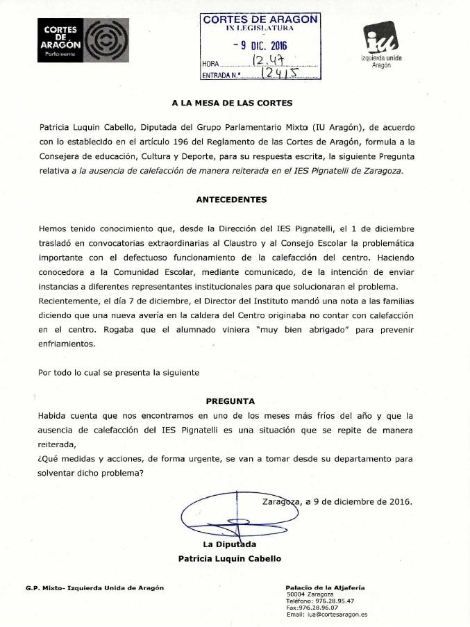 pregunta de IU a las Cortes de Aragon